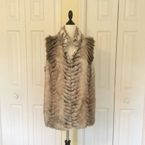 Chico's faux fur vest with sweater back. NWOT